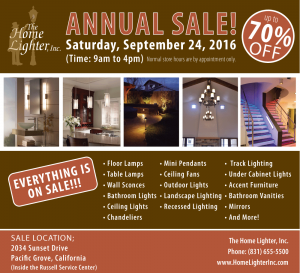 The Home Lighter Annual Sale Flyer, up to 70% OFF lighting.
