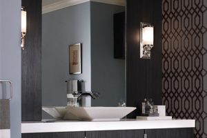 Bathroom lighting fixtures placed between mirror with modern design.