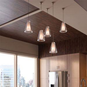 Lighting pendents placed in modern kitchen.